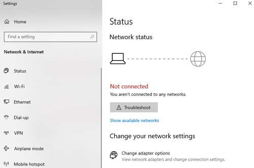 laptop tidak bisa connect internet