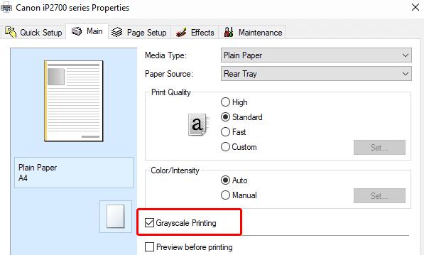 cara print hitam putih pdf