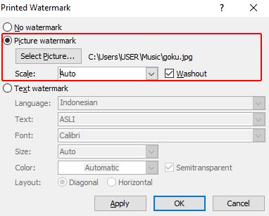 cara membuat watermark di word gambar