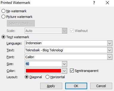 membuat watermark di word berupa teks
